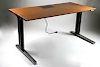 Herman Miller Modern Teak and Chrome Flat Top Renew Model Power Adjustable Table Desk