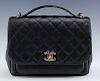 Chanel Flap Quilted Calfskin Black Leather Handbag