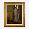 Frederick Carl Frieseke - Woman in Silk Robe standing in a doorway