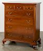 Southern Chippendale walnut semi-tall chest