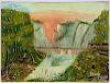 Primitive oil on canvas river landscape