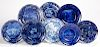 Eight blue Staffordshire plates and shallow bowls