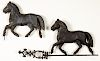 Two swell bodied horse weathervanes, etc.