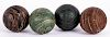 Four English painted lawn bowling balls