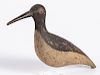 Carved and painted shorebird decoy