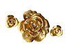 Cartier Gold Diamond Rose Flower Brooch and Earrings Set
