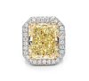 An Exceptional Fancy Yellow Diamond, Platinum and Diamond Ring,