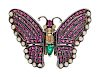 A Silver, Gemstone, Pearl and Diamond Butterfly Pendant/Brooch,
