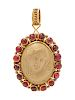 A Yellow Gold, Gemstone and Lava Cameo Pendant,