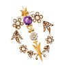 An Antique Yellow Gold, Diamond, Amethyst and Seed Pearl Brooch,