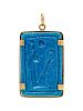 A Possibly Ancient Yellow Gold and Faience Pendant,