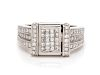 A 14 Karat White Gold, Irradiated Diamond and Diamond Ring,