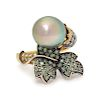 An 18 Karat Yellow Gold, Silver, Cultured Pearl, Diamond and Green Sapphire Ring, Adler,