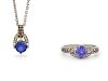 A Collection of 14 Karat White Gold, Tanzanite, Diamond and Colored Diamond Jewelry, LeVian,