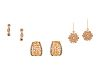 A Collection of 14 Karat Rose Gold, Diamond and Colored Diamond Earrings,