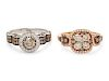 A Collection of 14 Karat Gold, Colored Diamond and Diamond Rings, Le Vian,