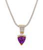 An 18 Karat Yellow Gold, Amethyst and Diamond Pendant with 14 Karat White Gold Chain,