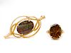A Collection of 14 Karat Yellow Gold and Ammolite Triplet Jewelry,