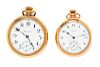 A Collection of Yellow Gold Filled Open Face Pocket Watches,