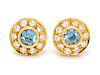 A Pair of 18 Karat Yellow Gold, Blue Topaz and Diamond Earrings, Tiffany & Co.,