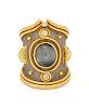 An 18 Karat Bi-Color Cat's Eye Chrysoberyl and Diamond Ring, Elizabeth Gage,
