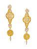 A Pair of 18 Karat Yellow Gold and Diamond Convertible Earrings, Cynthia Bach,
