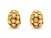 A Pair of 18 Karat Yellow Gold 'Dot' Earclips, John Hardy,