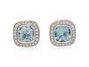 A Pair of 18 Karat White Gold, Aquamarine and Diamond Earclips, Fope,