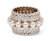 An 18 Karat White Gold, Cultured Pearl and Diamond Ring, Zolotas,