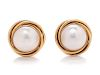 A Pair of 14 Karat Yellow Gold and Cultured Mabe Pearl Earclips,