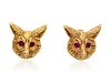 A Pair of Antique 14 Karat Yellow Gold and Ruby Fox Motif Earrings, J.E. Caldwell & Co.,