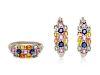 A Sterling Silver and Multicolor Sapphire Demi-Parure,