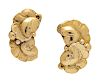 A Pair of Gilt Sterling Silver Floral Motif Earclips, Harald Nielson for Georg Jensen,