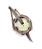 A Silver and Mother-of-Pearl Tambourine and Sword Brooch,