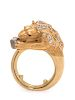 A Yellow Gold, Rough Diamond, Diamond and Ruby Lion Ring,