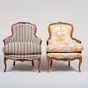 Two Louis XV Style Beechwood Bergères