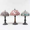 Three Bronze Table Lamps with Leaded Shell and Stained Glass Shades