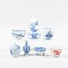 Group of Four Small Chinese and Two Japanese Blue and White Porcelain Articles