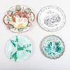 Staffordshire Rabbit, Three Majolica Plates and a Transfer Decorated Creamware Plate