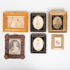 Tramp Art Pinecone Frame and Five Needlework Pictures