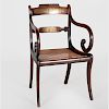 Regency Brass Inlaid Carved Rosewood Open Armchair