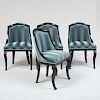 Set of Four Regency Style Ebonized Chairs en Gondole