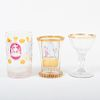 German Engraved Glass Goblet, a Cut Cased Glass Beaker and a Cased and Enameled Beaker