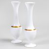 Pair of French Gilt Decorated Opaline Glass Vases