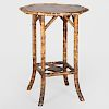 French Bamboo Hexagonal Two-Tier Table