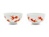 A Pair of Iron Red Decorated 'Goldfish' Porcelain Bowls Diam 4 in., 10 cm.