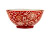 A Reverse-Decorated Coral-Ground Porcelain Bowl Diam 6 1/4 in., 16 cm.