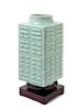 A Celadon Glazed Porcelain Cong Vase Height 10 3/4 in., 27 cm.