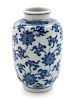 A Small Blue and White Porcelain Lantern Vase  Height 4 in., 10 cm.