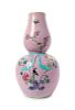 A Pink Ground Famille Rose Gourd-Form Vase Height 16 1/2 in., 42 cm.